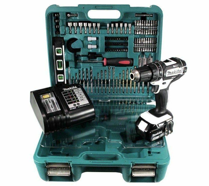 Makita DHP 482 STTK W Schlagbohrschrauber inkl. 5 Ah Akku + 101 tlg. Zubehör für 189€