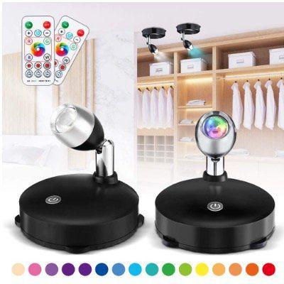 2x Solmore LED Schrankbeleuchtung mit 16 Farben, 4 Modi und Fernbedienung für 12,91€ (statt 19€)