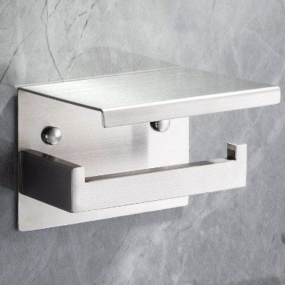 Yigii Toilettenpapierhalter aus Edelstahl mit Ablage ohne Bohren montierbar für 14,99€ (statt 25€)