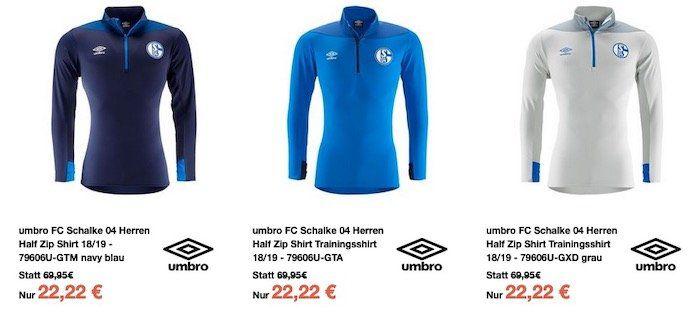 Umbro FC Schalke 04 Herren Half Zip Shirt 2018/19 in drei Farben für 22,22€ (statt 29€)