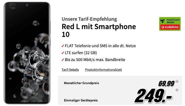 Galaxy S20 Ultra 128GB für 249€ mit Vodafone Allnet Flat mit 32GB LTE500 für 69,99€ mtl.