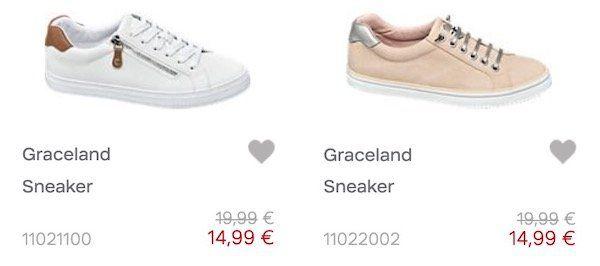 Graceland Sommer Sneaker in 5 Farben für je 14,99€