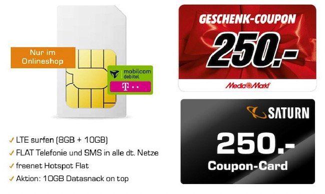 🔥 Telekom Flat mit 18GB LTE für rechn. 21,99€ mtl. + 250€ Coupon (Media Markt / Saturn)