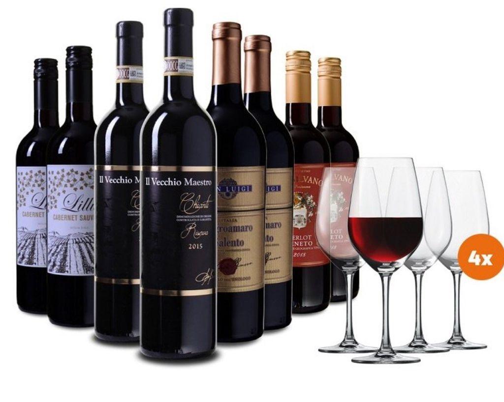 Wein Probierpaket italien (4 Weine mit je 2 Flaschen) + 4 Schott Zwiesel Gläser 69,99€