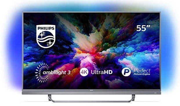 Philips 55PUS7503   55 Zoll UHD Android Fernseher mit 3 seitigem Ambilight für 578,90€ (statt 660€)