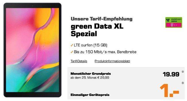 Samsung Galaxy Tab A 10.1 LTE (2019) für 1€ und Telekom Daten Flat inkl. 15GB LTE 150 Mbit für 19,99€ mtl.