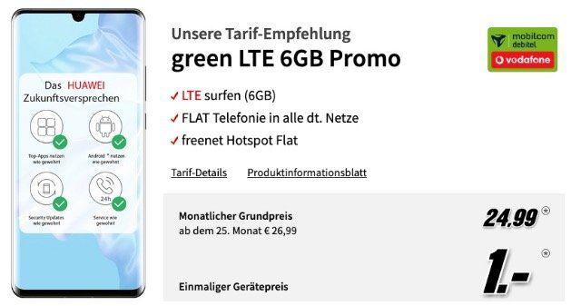Huawei P30 Pro 128GB für 1€ mit Vodafone Allnet Flat mit 6GB LTE50 für 24,99€ mtl.