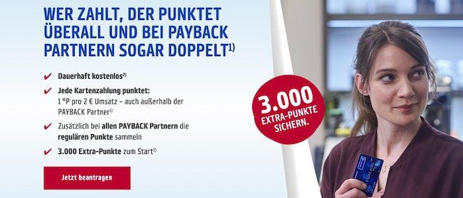 Payback American Express Kreditkarte dauerhaft kostenlos + 3.000 Punkte (30€)