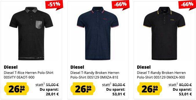 Diesel Herren Polo Shirt Sale bei SportSpar   z.B. Diesel T Randy Broken für 31€ (statt 80€) oder Shirts für 19,99€