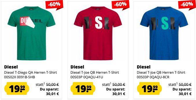 Diesel Herren Polo Shirt Sale bei SportSpar   z.B. Diesel T Randy Broken für 31€ (statt 80€) & Shirts 19€