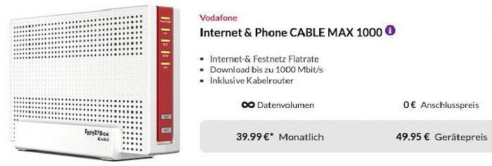 AVM FRITZ!Box 6591 Cable für 49,95€ + Vodafone CableMax Gigabit für 39,99€ mtl.
