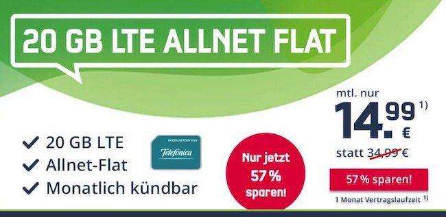 🔥 o2 Allnet Flat mit 20GB LTE für 14,99€ mtl. (monatlich kündbar!)   WLAN Call + VoLTE möglich!
