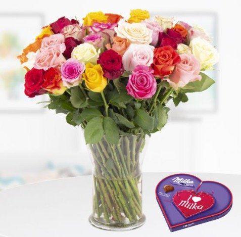 40 bunte Rosen +  I love Milka Pralines + Grußkarte für nur 25,90€