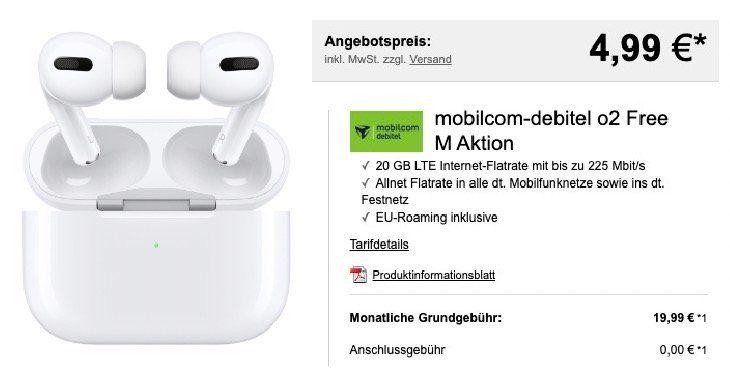 Apple AirPods Pro für 4,99€ + o2 Flat mit 20GB LTE für 19,99€ mtl.