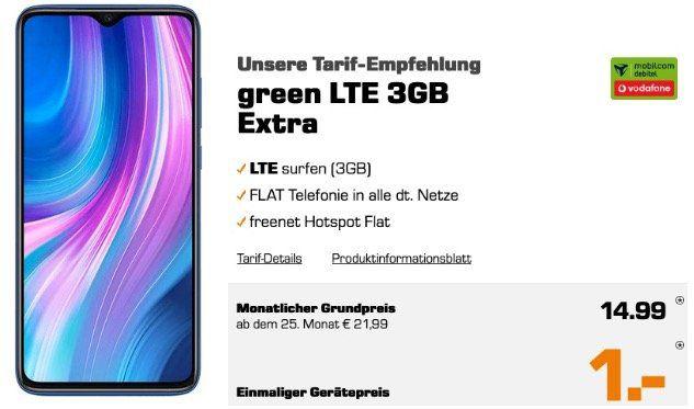 XIAOMI Redmi Note 8 Pro 128GB für 1€ mit Vodafone Allnet Flat mit 3GB LTE21,6 für 14,99€ mtl.