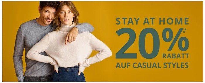 Heute 20% Rabatt auf viele Casual Styles vieler Top Marken   z.B. Tommy Hilfiger oder BOSS