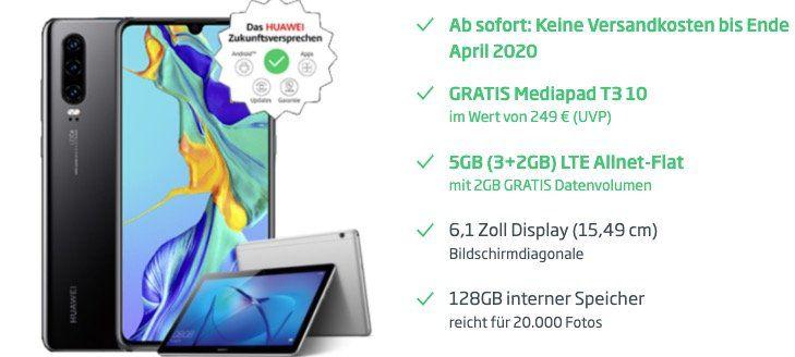 Huawei P30 128GB + MediaPad T3 10 für 49€ + o2 Flat mit 5GB LTE für 22,99€ mtl.