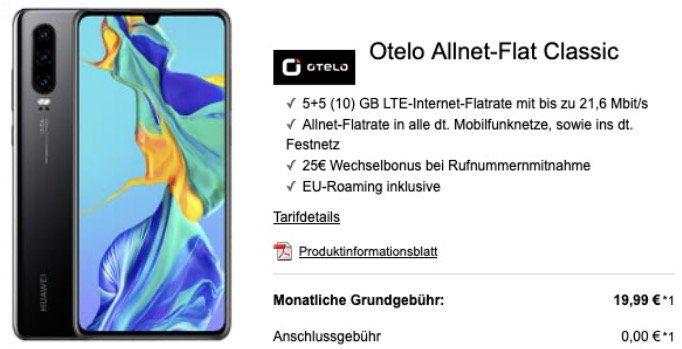Huawei P30 128GB + FreeBuds 3 für 15€ + Vodafone Allnet Flat mit 10GB LTE für 19,99€ mtl.