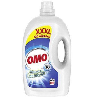5 Liter Omo Flüssigwaschmittel XXXL mit Leuchtkraft Booster (100 WL) ab 9,49€   Prime