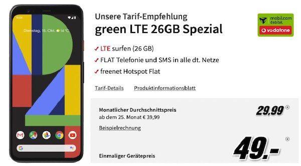Google Pixel 4 XL für 49€ + Vodafone Flat mit 26GB LTE (!) für 29,99€ mtl.