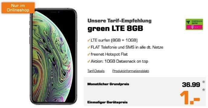 Apple iPhone XS 256GB für 1€ mit Telekom Allnet Flat mir 18GB LTE für 36,99€ mtl.