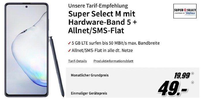 Samsung Galaxy Note 10 Lite für 49€ + o2 Flat mit 5GB LTE für 19,99€mtl.