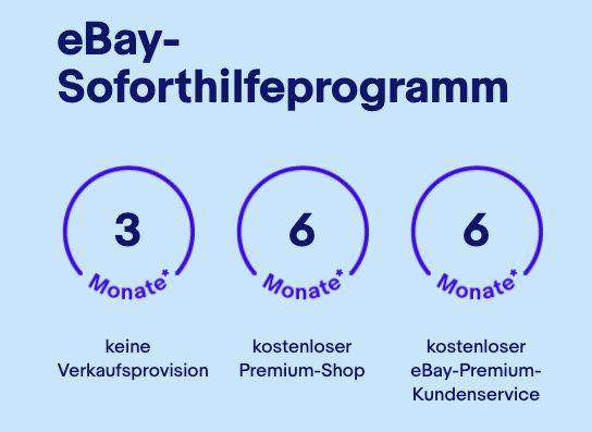 eBay: Gewerbe Soforthilfeprogramm mit 3 Monaten keine Verkaufsprovision + 6 Monate kostenloser Premium Shop