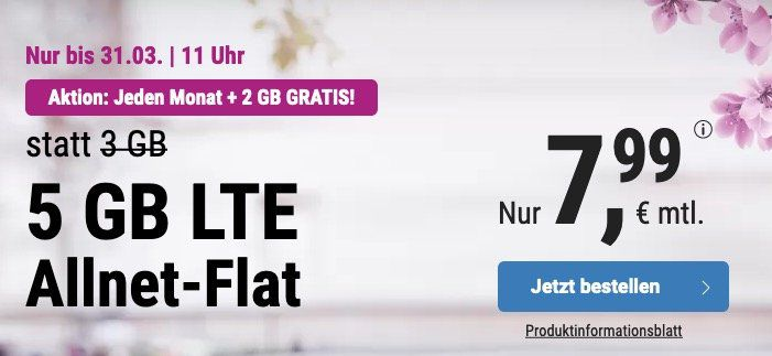 o2 Allnet Flat mit 5GB LTE von Simply für 7,99€ mtl. + monatlich kündbar