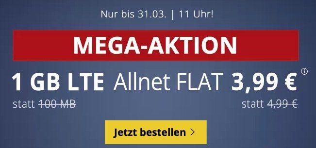 o2 Allnet Flat mit 1GB LTE für 3,99€ mtl. + keine Laufzeit