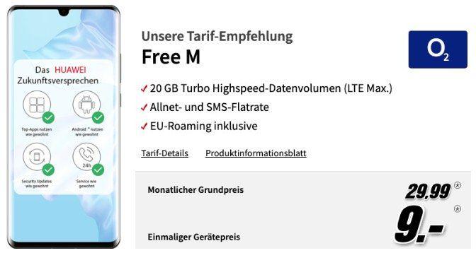 Huawei P30 Pro für 9€ + o2 Allnet Flat mit 20GB LTE für 29,99€ mtl.