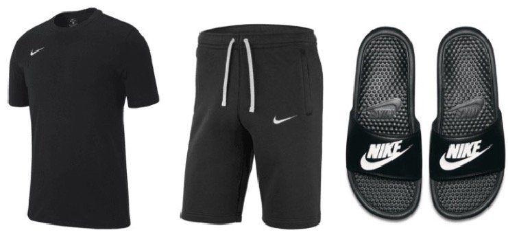 Nike Freizeit Outfit 3 teilig (Shirt, Short, Badesandalen) für 46,70€ (statt 54€)