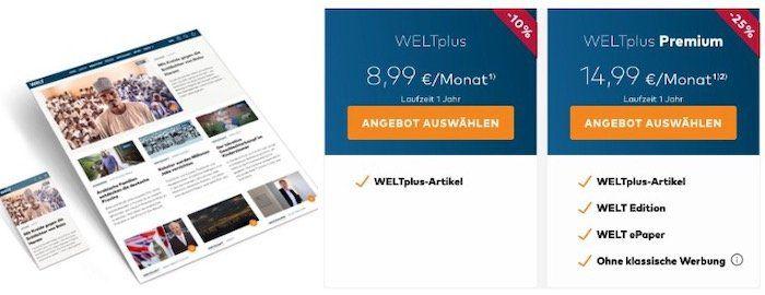 WELTPlus Digital Abo mit bis zu 25% Rabatt   oder mit Apple iPad ab 21,99€