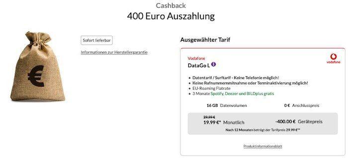 Vodafone DataGo L mit 16GB LTE für 24,99€ mtl. + 400€ Auszahlung   effektiv nur 8,32€ mtl.