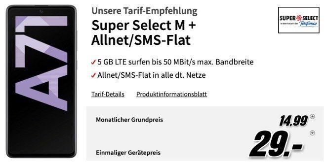 Samsung Galaxy A71 128GB für 29€ + O2 Flat mit 5GB LTE50 für 14,99€ mtl.