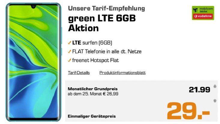 Nur 9x: XIAOMI Mi Note 10 Pro 256GB in Weiß für 29€ + Vodafone Flat mit 6GB LTE für 21,99€ mtl.