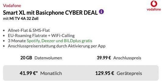 Xiaomi Mi 10 128GB + 32 Xiaomi TV für 129,95€ + Vodafone Flat mit 20GB LTE für 41,99€ mtl.