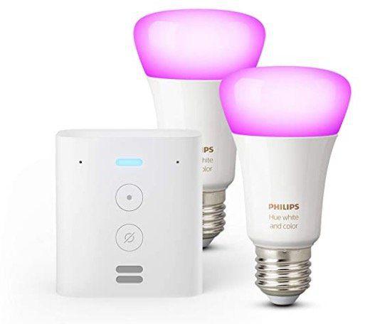 Echo Flex + 2er Pack Philips Hue Color LED Lampen für 64,99€ (statt 108€)