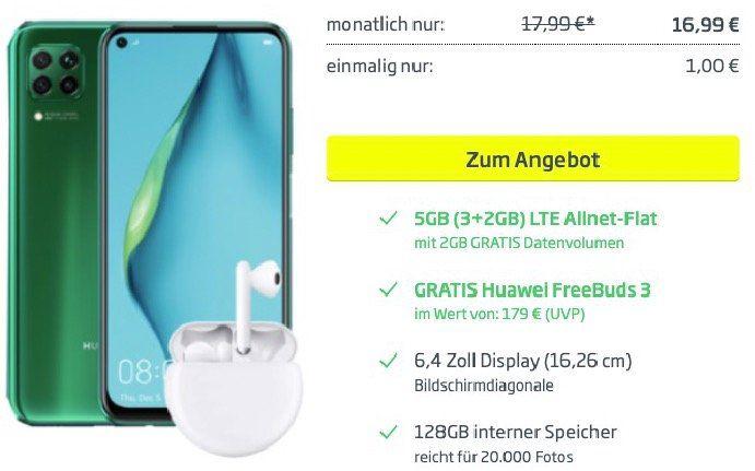 🔥 Huawei P40 Lite + FreeBuds 3 für 1€ + o2 Flat mit 5GB LTE für 16,99€ mtl.