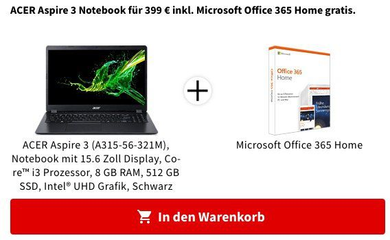 Knaller! 🔥 ACER Aspire 3 mit 15.6 (Core i3, 8GB, 512GB SSD) inkl. Office 365 Home ab 375€ (statt 554€)   20€ Coupon bei Mastercard