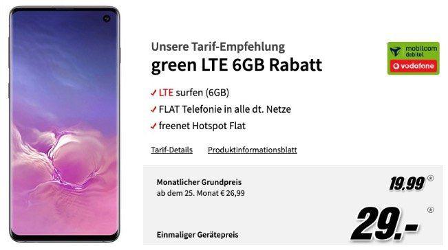 Samsung Galaxy S10 mit 128GB für 29€ + Vodafone Flat mit 6GB LTE für 19,99€mtl.