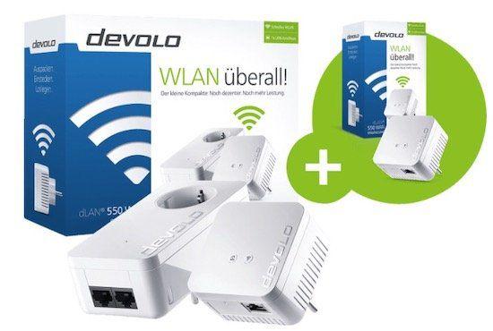 Powerline Adapter Devolo dLAN 550 WiFi Starter Kit + Extra Adapter für 86,76€ (statt 130€)