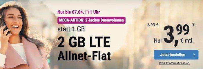 o2 Allnet Flat mit 2GB LTE von Simply für 3,99€ mtl. + ohne Laufzeit möglich