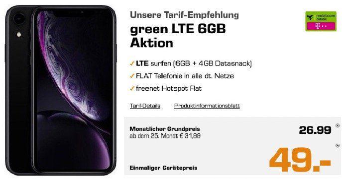 iPhone XR für 49€ + Telekom Flat mit 6GB LTE für 26,99€mtl.