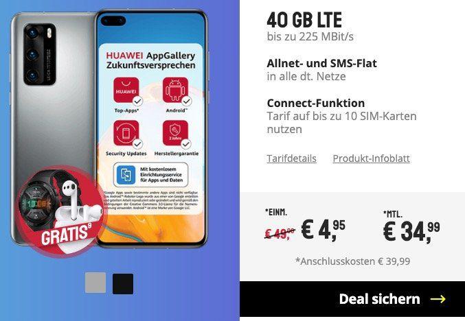 Huawei P40 + FreeBuds 3 + Watch GT 2E für 4,95€ + o2 Flat mit 40GB LTE (!) für 34,99€ mtl.