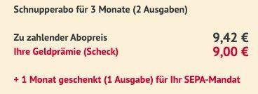 GQ Miniabo mit 2 Ausgaben 9,42€ + Prämie: 9€ Scheck + 1 gratis Monat bei SEPA