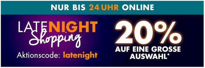 Galeria Late Night bis Mitternacht 20% Rabatt auf (fast) Alles: z.B. HUGO BOSS Intensitiy Herrenuhr für 199€ (statt 286€)