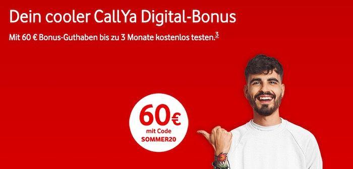 🔥 3 Monate GRATIS Vodafone CallYa Digital Prepaid mit 10GB LTE dank 60€ Startguthaben