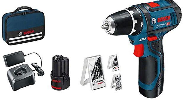 Bosch GSR 12V 15 Akku Bohrschrauber + 1x 2Ah Akku + 1x 4Ah Akku + Bohrer und Tasche für 104,65€ (statt 141€)