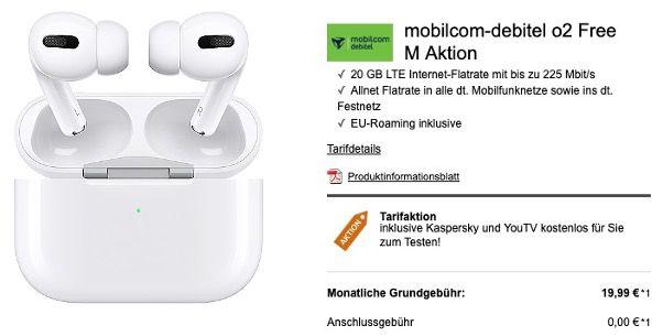 Apple AirPods Pro für 1€ + o2 Flat mit 20GB LTE für 19,99€ mtl.