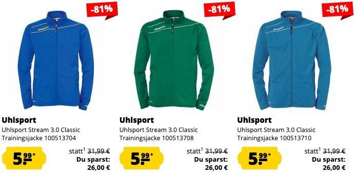 Uhlsport Sale bei SportSpar   z.B. Uhlsport Stream 3.0 Präsentationsjacke für 11,94€